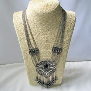 Silver Statement Necklace Oval Focal & Medallions